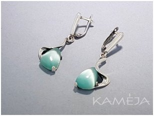 Earrings with synthetic stone with cat's eye effect A2146300640