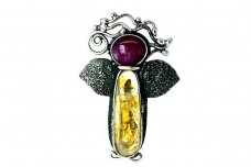 Angel Brooch with Corundum and Citrine