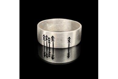 """Šlifuoto sidabro žiedas """"Miškas"""" 2"""