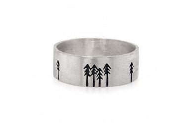 """Šlifuoto sidabro žiedas """"Miškas"""""""