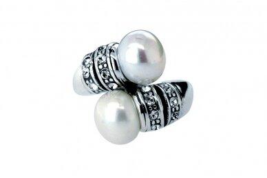 Žiedas su kultivuotais perlais ir Swarovski krištolo akmenukais 2